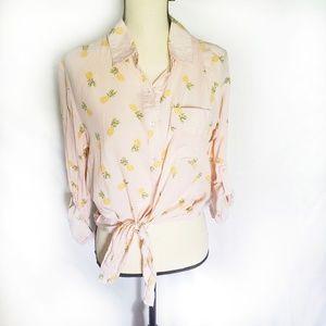 NWT blush pink pineapple tie waist rayon crop top